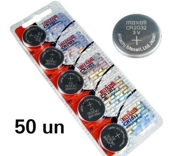 Kit 50 Bateria Cr 2032 Maxell Relógio Alarmes