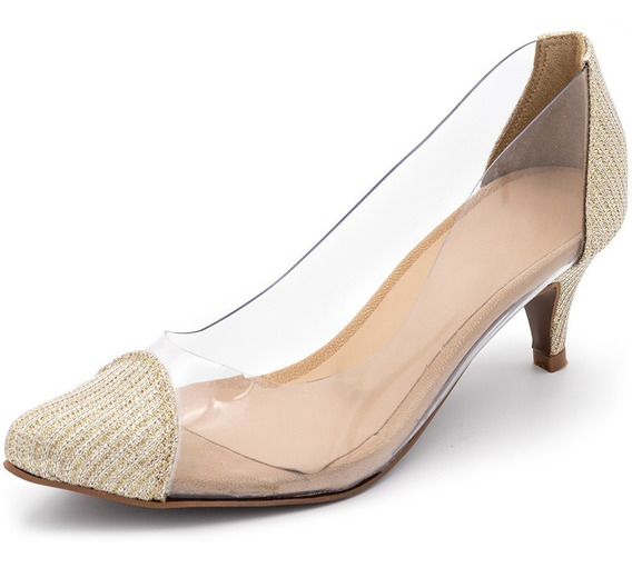 Sapato Scarpin Transparente Salto Baixo Fino Detalhe Dourado