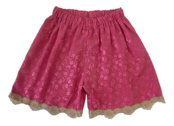 Short De Raso Con Relieve Color Rojo Con Puntilla Talle M