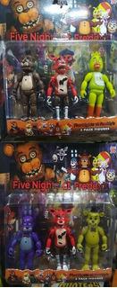 Set X3 Muñecos Fnaf Five Nights At Freddys Foxy Bonnie Chica