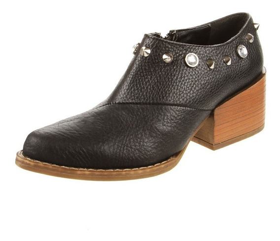 Botita Zapato Cuero Negro Viamo Bose Talle 40