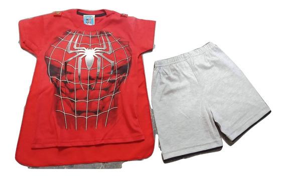Remeras Con Capa Mas Short Spiderman Hombre Araña