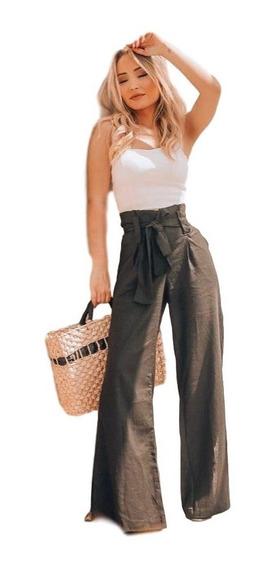 Calça De Linho Feminina Pantalona Clochard Com Fenda