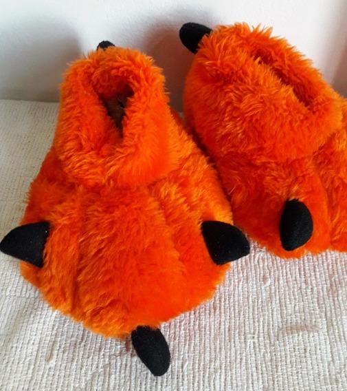Pantuflas Garras Peluche De Niñes Naranja Usado 16cm
