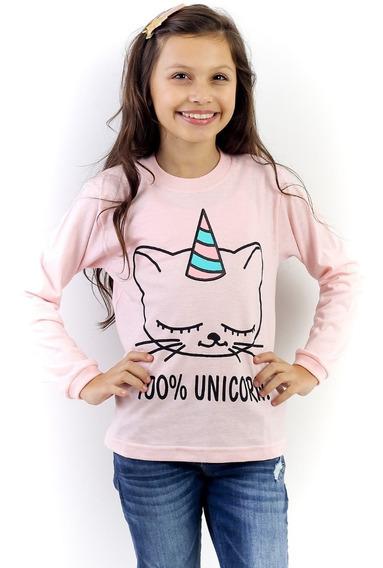 Kit 10 Camisetas Infantil Menina Manga Longa 12x S/ Juros