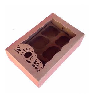 50 Cajas 6 Cupcakes Kraft Edición Especial Día De Muertos