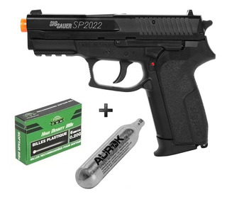 Pistola Airsoft Co2 Sig Sauer Sp2022 Slide Metal + Bbs + Co2