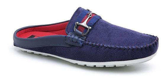 Mule Babuche Confort Shoes Camurça Azul Marinho Promoção