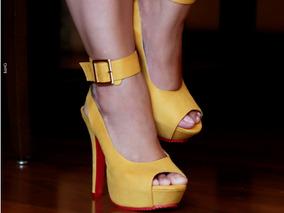 Sandália Salto Fino Alto Amarela Tamanhos Especiais Grandes