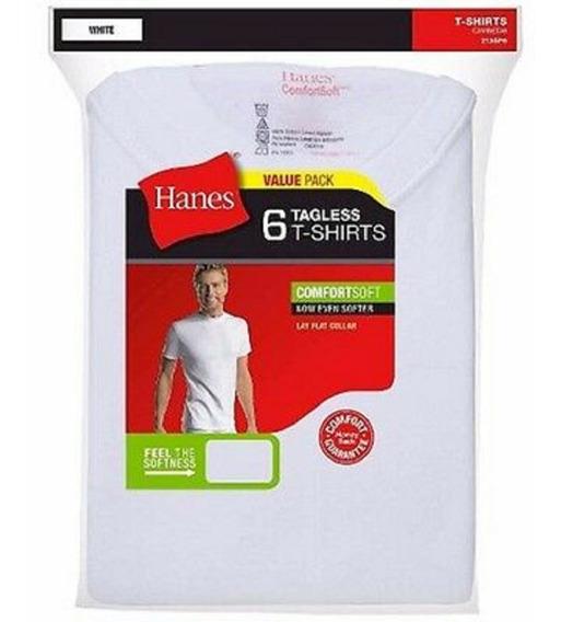 Remeras Hanes Pack X6u Blancas Talle M Comfortsoft