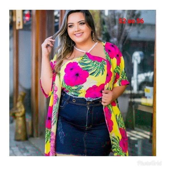 Kit Conjunto Plus Size Floral Lançamento Kimono + Cropped