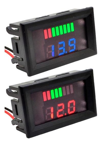 Kit 2 Voltímetros Medidor Bateria 12v Som Automotivo Moto