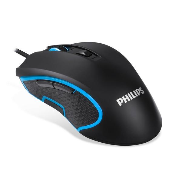 Mouse Gamer Philips Laser Usb Óptico Pc 6400 Dpi Momentum