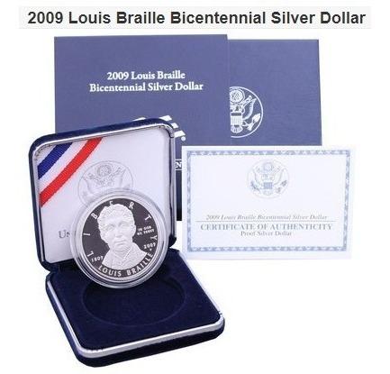 Moeda Comemorativa 2009 Louis Braille Bicentennial / Proof