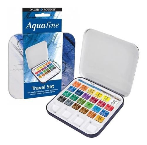 Imagem 1 de 4 de Estojo Aquarela Daler Aquafine Travel Set 24 Cores + Pincel