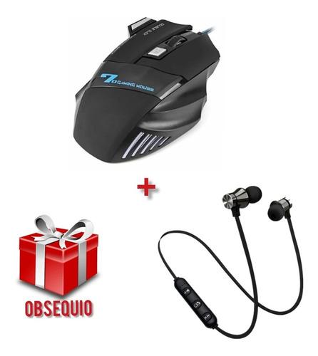Mouse Gamer Ergonómico + Auriculares Bluetooth + Obsequio