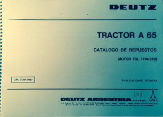 Manual De Repuestos Tractor Deutz A65