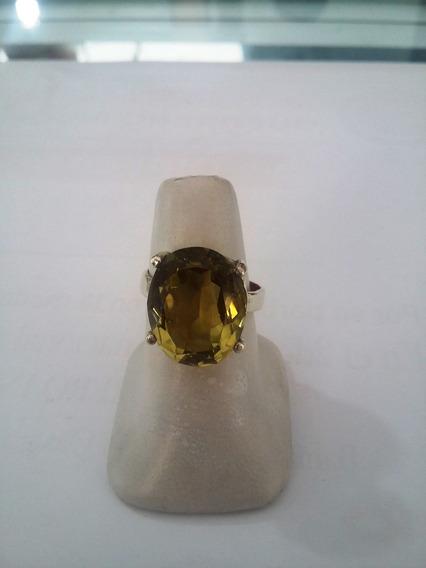 Anillo De Topacio Champagne En Plata Esterlina 0.925
