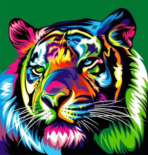 Imagen 1 de 2 de Lienzo Pinta Por Números Tigre Colorido Grupo Educar