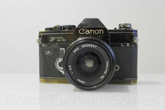 Câmera Canon Ftb Analógica C/lente 28mm 2.8
