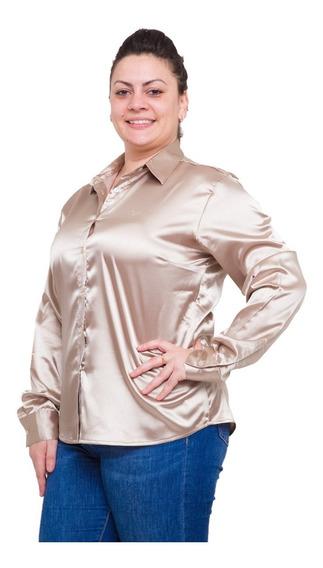 Camisas Cetim Plus Size Várias Cores Pimenta Rosada