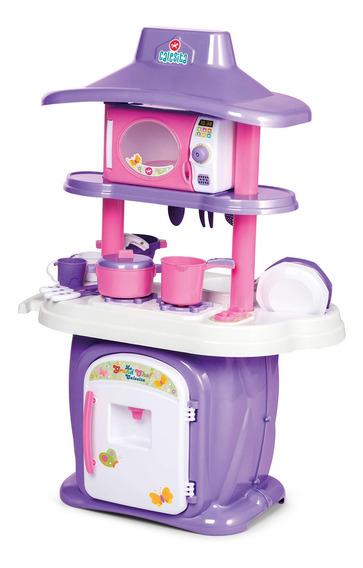 Cozinha Infantil Completa Brinquedo Menina 16 Pçs Rosa/roxa