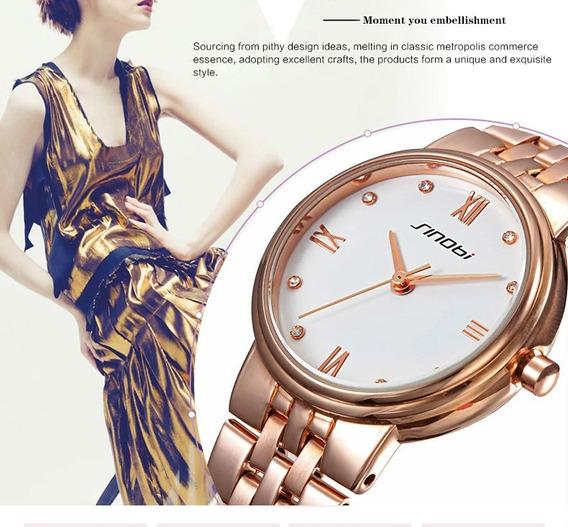 Relógio Quartzo De Luxo Feminino Dourado Pulseira Em Metal!