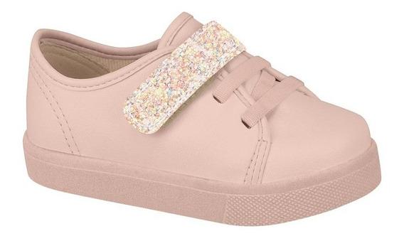 Tênis Infantil Menina Molekinha 2118126 Rosa Glitter Velcro