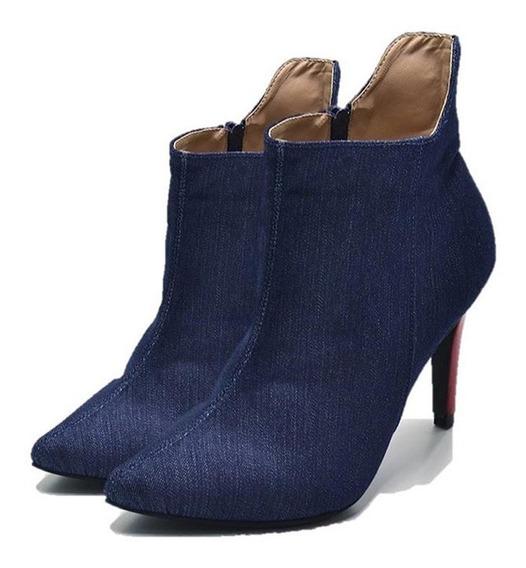 Bota Feminina Sapatos Cano Curto Verniz E Jeans Qualidade
