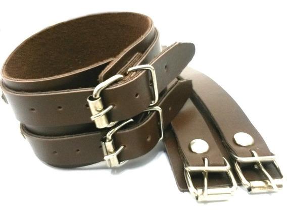 6 Bracelete Preto + 6 Marrons 2 Fivelas Couro Atacado C/nota