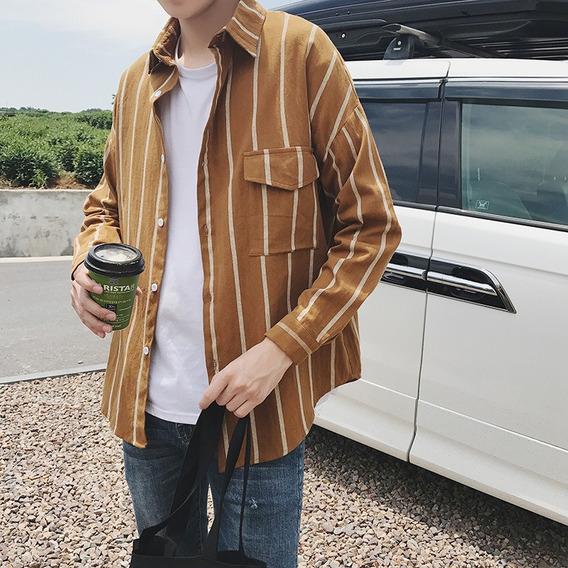Camisa Rayada A La Moda Para Hombre