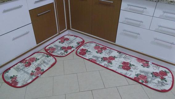 Jogo De Tapete Cozinha 3 Peça Atoalhado Antiderrapante Rosas
