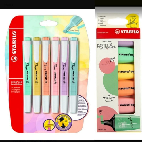 Pack Mini Stabilo Boss Pastel Love + Swing Cool 12 Destacado