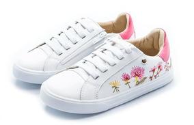 Tênis Gambo Flores - Branco / Pink