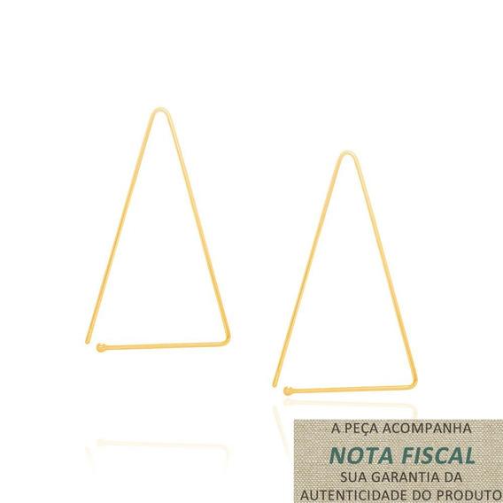 Brinco Ear Hook Triangular Folheado Ouro Rommanel 525992
