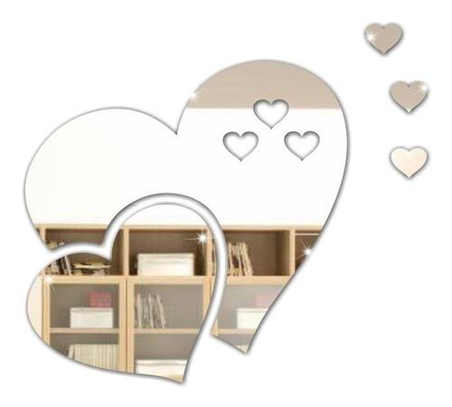 Kit 5 Corações Coração Espelho Decorar Decoração Sala Quarto