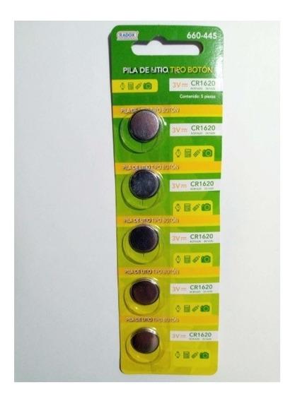 Paquete De 5 Pz Pila Bateria Boton 3v Cr1620 - T2003