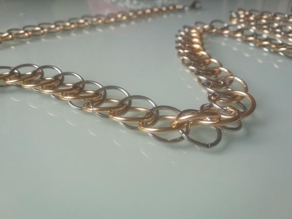 Corrente E Pulseira Persiana 3-1 Alumínio Dourado E Prateado