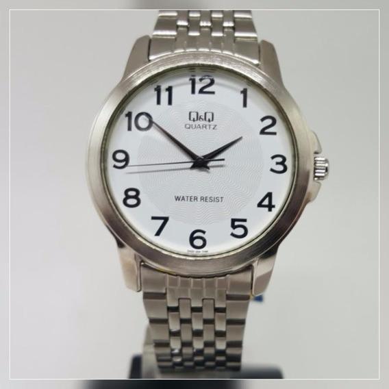 Relógio Redondo Médio Unissex Prata Aço Inox Com Números Q&q