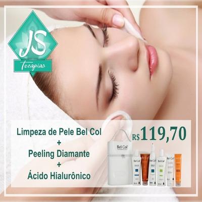 Limpeza De Pele Bel Col + Peeling Diamante+ácido Hialurônico