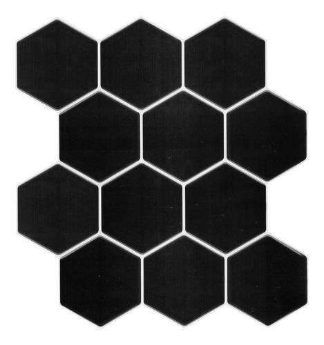Vinilo Tipo Ceramico Hexagono  Negro 16591