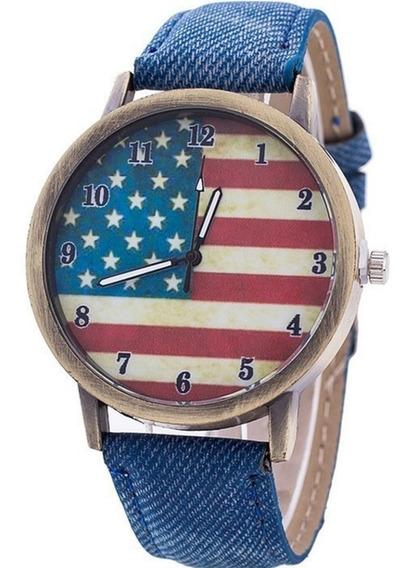 Relógio Estados Unidos Jeans Unissex Pulseira De Couro