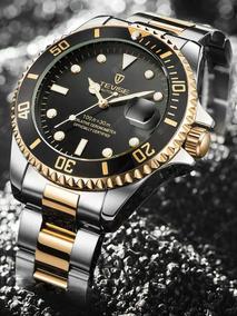 Relógio Automático Masculino Tevise Estilo Rolex Submariner