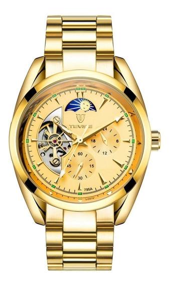Relógio Tevise 214 Automático Mecânico Inox Original Dourado