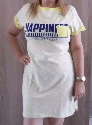 Camisa Vestido Xiquita Bakana Maxi-tee Happiness - Amarelo