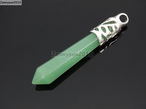 Péndulo Cuarzo Aventurina 6.5 Cm 100% Natural Collar Acero