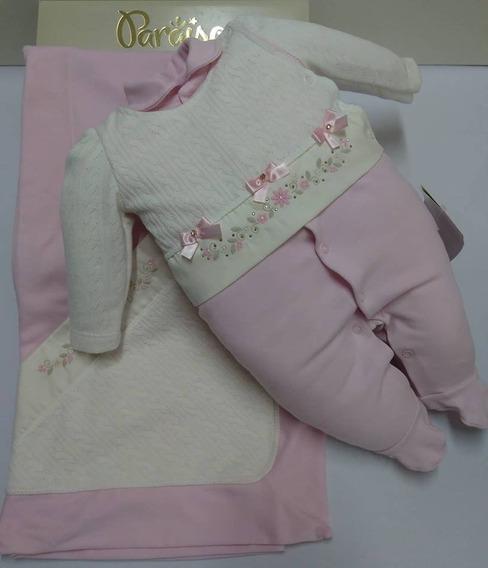 Saida De Maternidade Paraiso Bebê Menina Luxo Bordada 7980
