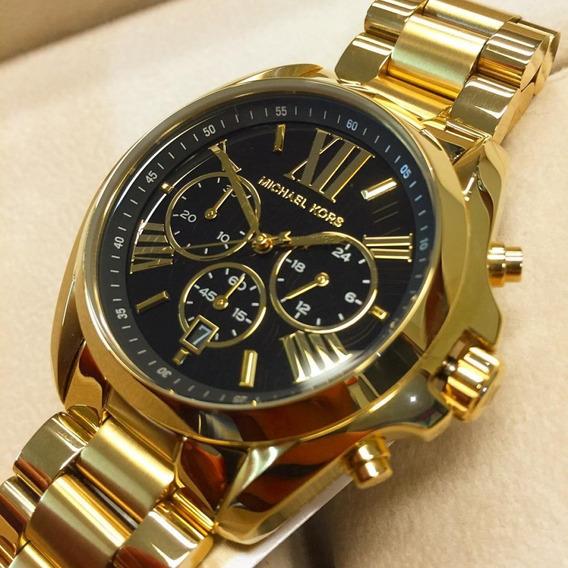 Relógio Michael Kors Unissex Dourado Fundo Preto Mk5739