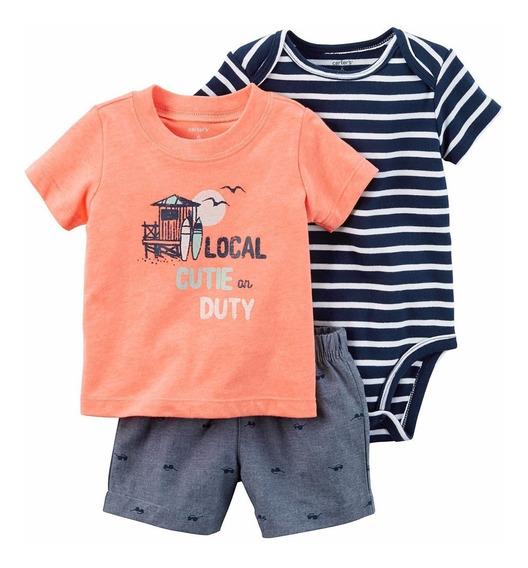 Roupa De Bebe Cj Carters 3pç Body Camiseta Local Cute Shorts