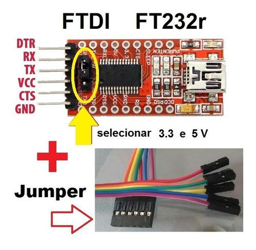 Imagem 1 de 7 de Ft232r Ttl Ftdi Cabo Adaptador Pra Arduino Micro Esp8266 01